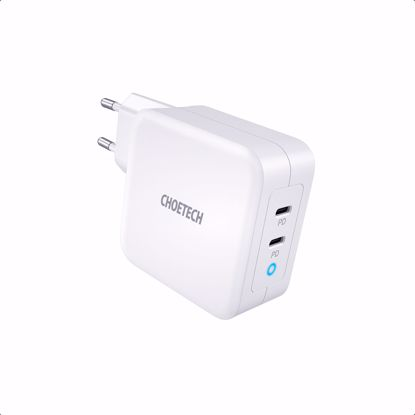 Picture of Choetech Choetech PD EU 100W USB-A/USB-C Dual Mains Charger in White (No Cable)